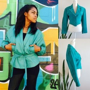 VTG 70s Wilsons Leather Turquoise Cropped Jacket